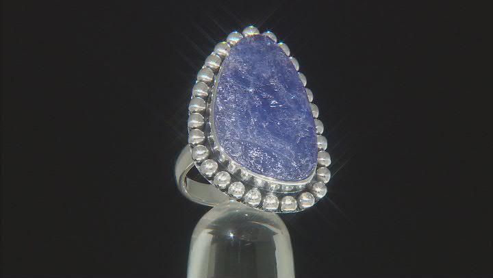 Blue Tanzanite Rough Silver Ring
