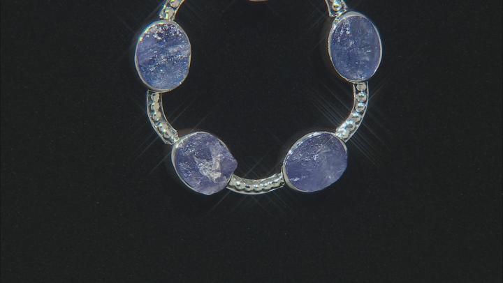 Blue Tanzanite Rough Silver Pendant