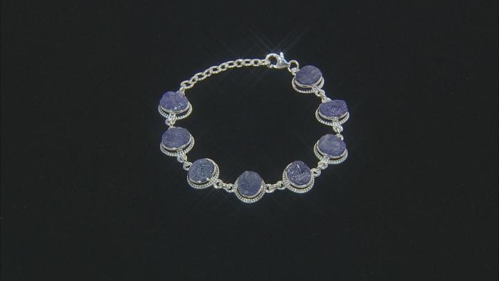 Blue Tanzanite Rough Silver Bracelet