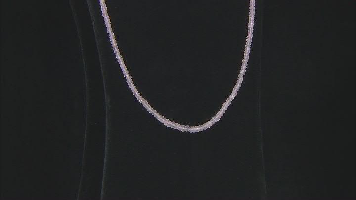 Pink Rose Quartz Bead Strand Silver Necklace