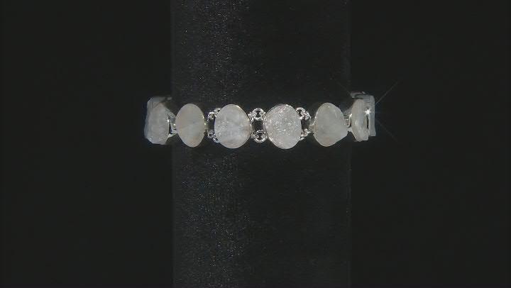 White Moonstone Rough Sterling Silver Bracelet.