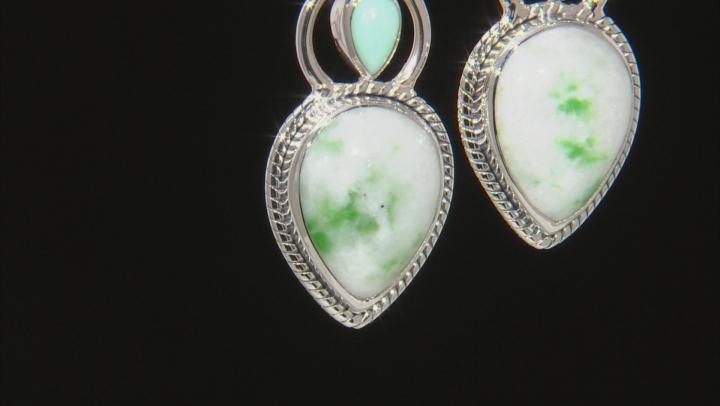 Green Garnet in Matrix Sterling Silver Earrings