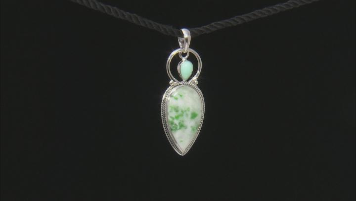 Green Garnet in Matrix Sterling Silver Pendant