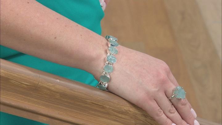 Aquamarine Rough Sterling Silver Bracelet