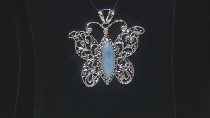 Blue Opal Silver Butterfly Pendant  0.04ctw