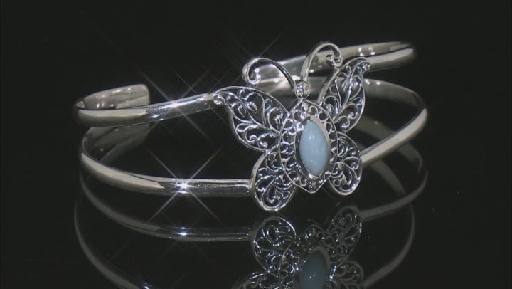 Blue Opal Silver Butterfly Bracelet 0.04ctw