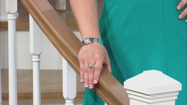 White Quartz Silver Cuff Bracelet