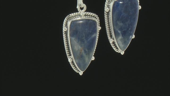 Blue Sodalite Silver Earrings