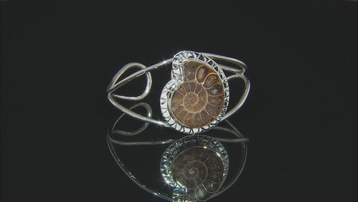 Brown Ammonite Silver Bracelet