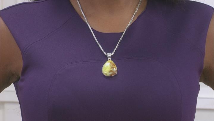 Green Opal Silver Pendant