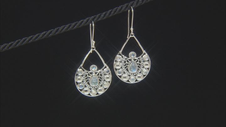 Rainbow Moonstone Sterling Silver Earrings