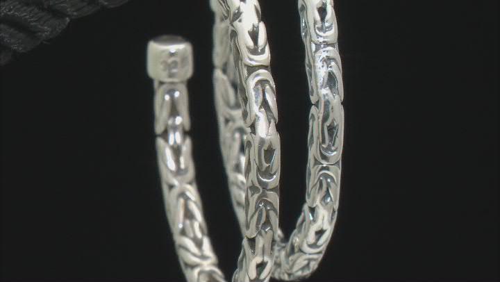 Sterling Silver 3.5mm Byzantine Link J-Hoop Earrings
