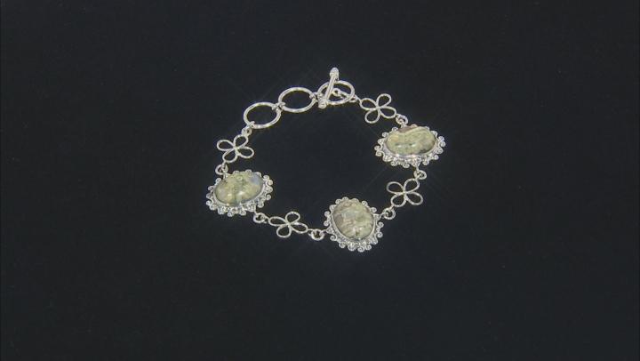 Rainforest Jasper Sterling Silver Floral Bracelet