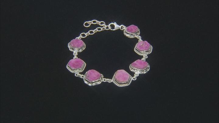 Rough Pink Sapphire Sterling Silver Bracelet