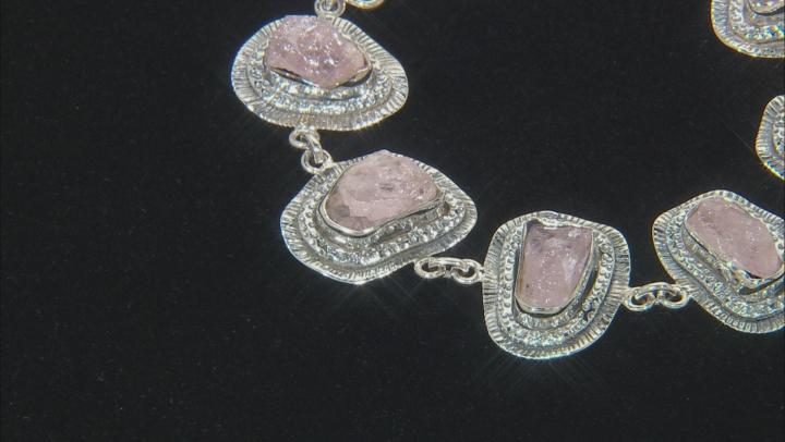 Pink Morganite Rough Sterling Silver Bracelet
