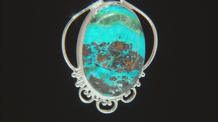 Malachite and Chrysocolla Sterling Silver Pendant