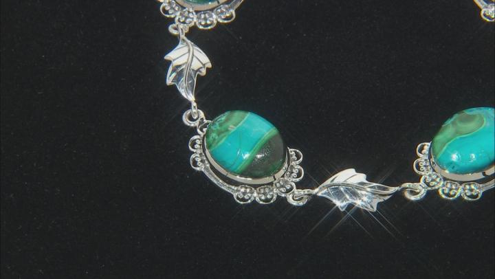 Malachite and Chrysocolla Sterling Silver Bracelet