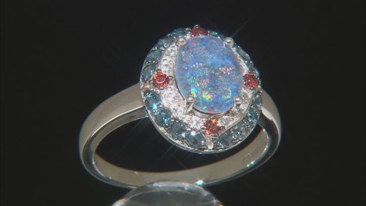 Multi-color Australian Opal Triplet Rhodium Over Silver Ring .88ctw