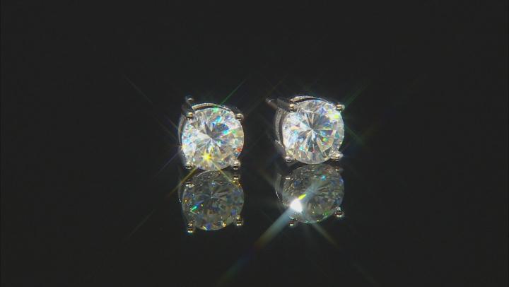 White Fabulite Strontium Titanate Rhodium Over Sterling Silver Stud Earrings 2.27ctw