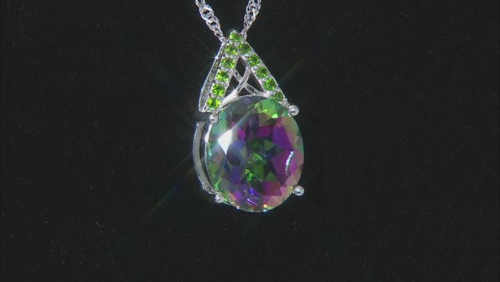 Mystic® green quartz Rhodium Over silver pendant with chain 6.37ctw