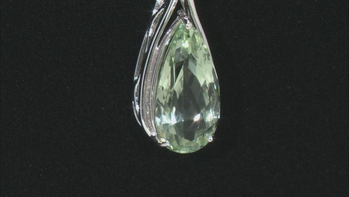 Green Prasiolite Rhodium Over Silver Pendant With Chain 7.33ctw