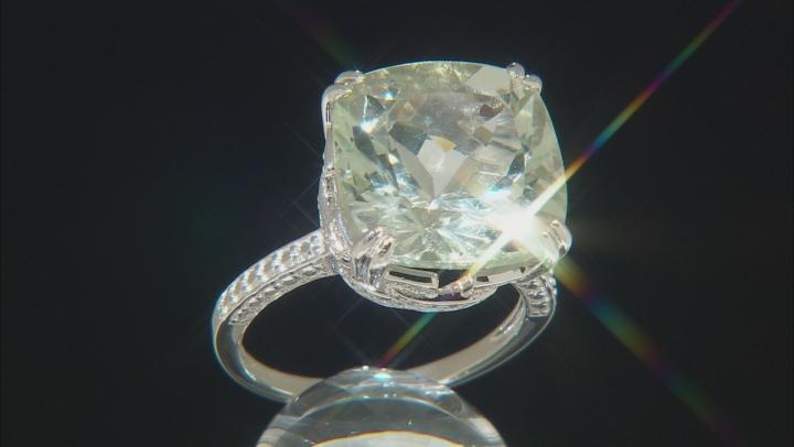 Green Brazilian Prasiolite Rhodium Over Sterling Silver Ring 7.55ctw