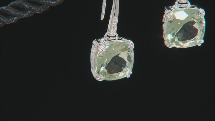 Green Prasiolite Rhodium Over Sterling Silver Dangle Earrings 6.90ctw