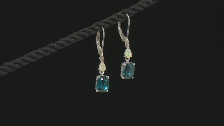 London Blue Topaz Rhodium Over Sterling Silver Dangle Earrings 3.05ctw