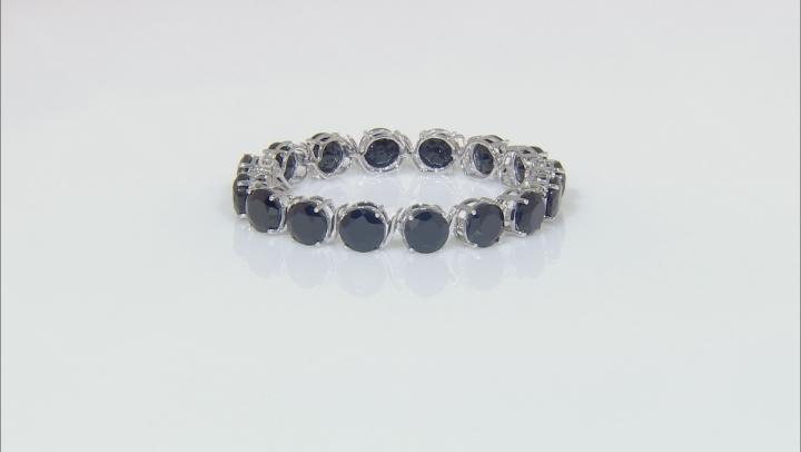 Black Spinel Rhodium Over Sterling Silver Tennis Bracelet  72.72ctw