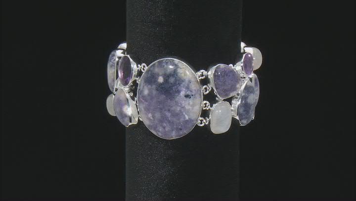 Opal, Rainbow Moonstone And Amethyst Sterling Silver Bracelet