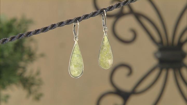 Green Connemara Marble Sterling Silver Earrings