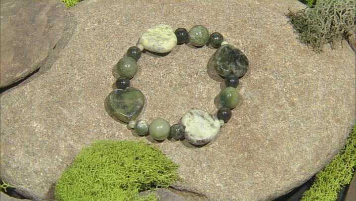 Green Connemara Marble Stretch 2 Bracelet Set
