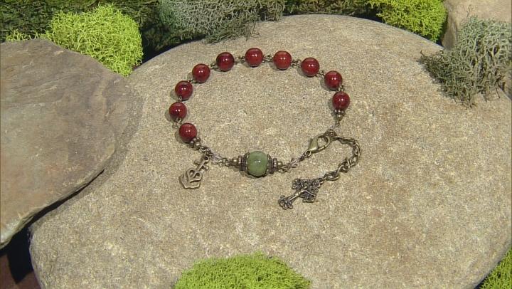 Green Connemara Marble Bronze Tone Over Brass Rosary Bracelet