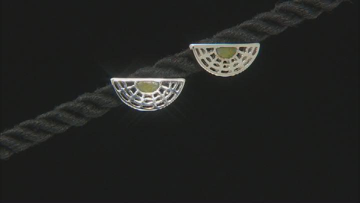 Green Connemara Marble Silver Earrings