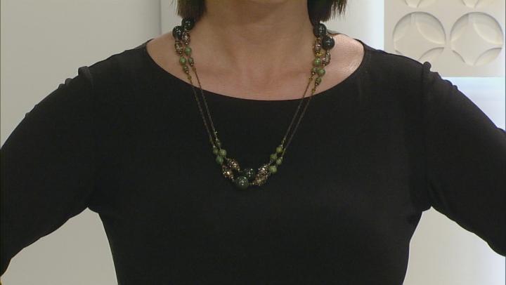 Green Connemara Marble Brass Necklace
