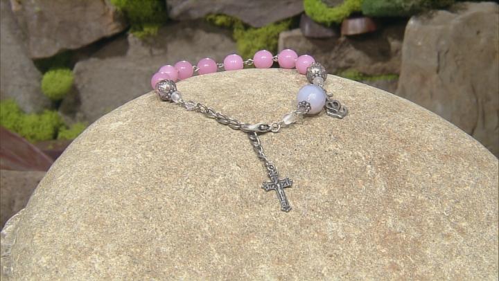 Pink Glass Bead Silver Tone Brass Rosary Bracelet