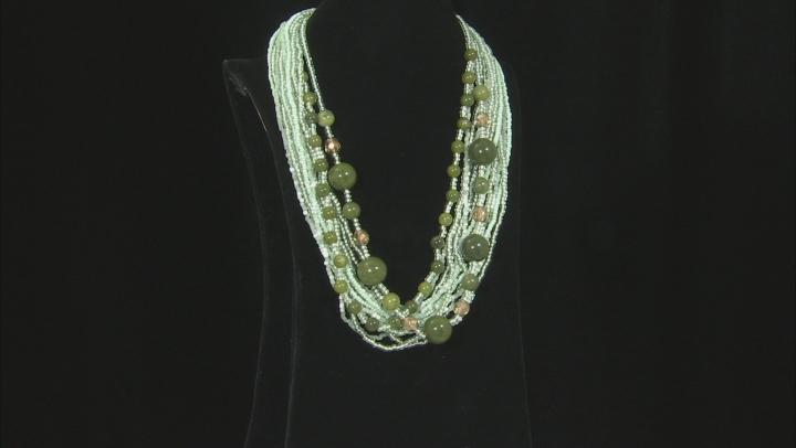 Green Connemara Marble Silver Tone Brass Necklace