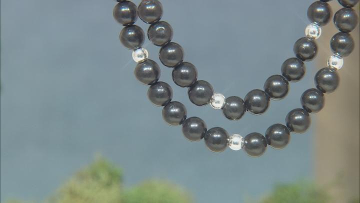 Black Kilkenny Marble Sterling Silver Bead Neckalce