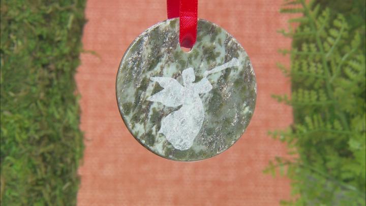 Green Connemara Marble Christmas Ornaments Set Of 2