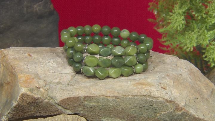 Green Connemara Marble Bead 3 Stretch Bracelet Set
