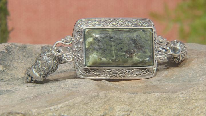 Connemara Marble Silver Viking Dragon Bracelet