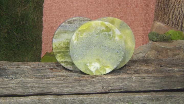 Green Connemara Marble Stone 3 Coaster Set