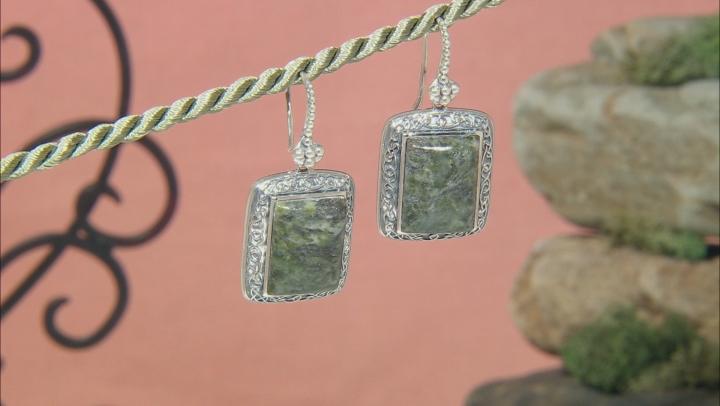 Green Connemara Marble Silver Celtic Earrings