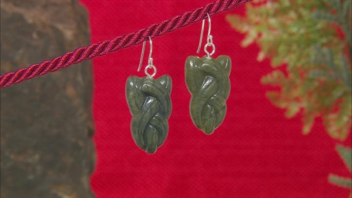 Green Connemara Marble Sterling Silver Celtic Earrings.