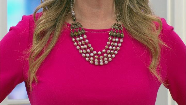 Multi Color Glass Bead 4-Strand Necklace