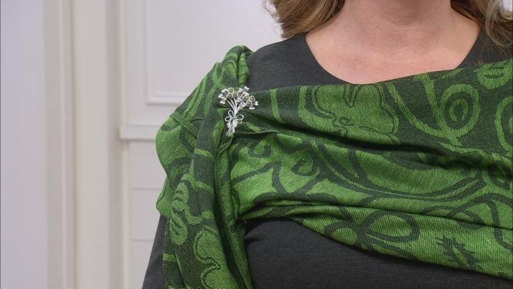 Connemara Marble Silver Shamrock Bouquet Pin-Pendant With Green Shamrock Scarf