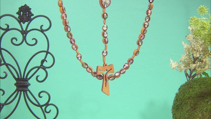 Wooden Bead Saints Rosary