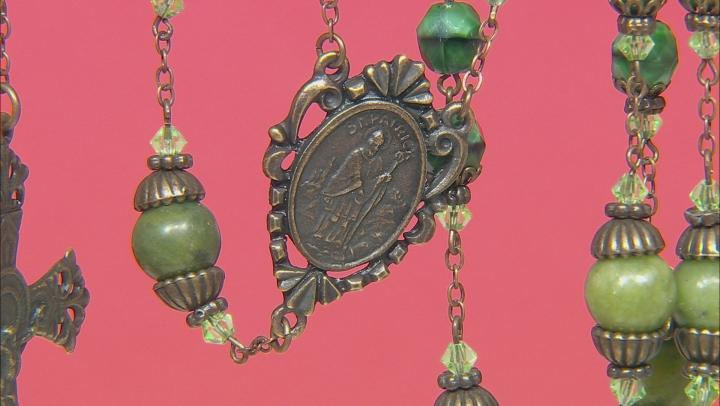 Connemara Marble And Glass Bronze Tone Irish Rosary