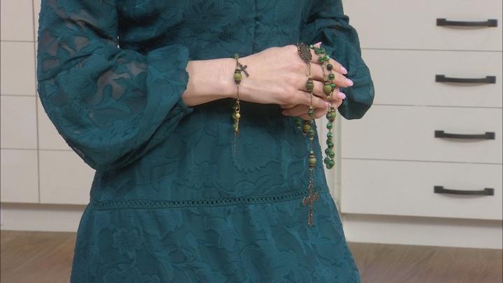 Connemara Marble And Glass Bronze Stone Irish Rosary Bracelet