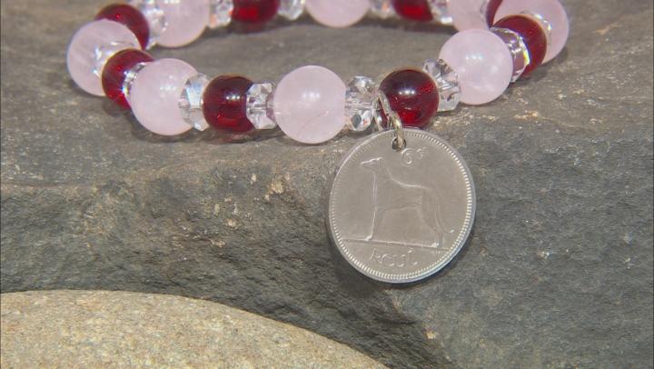 Rose Quartz, 6 Pence Coin Silver Stretch Bracelet